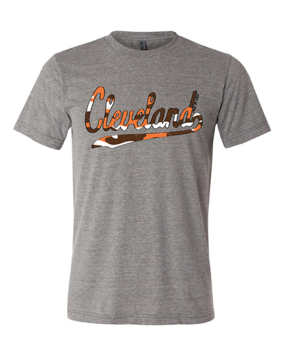 """Script Brown & Orange Camo"" on Gray - Only in Clev"
