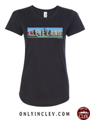 """Cleveland Skyline Panoramic"" T Shirt on Black - Only in Clev"