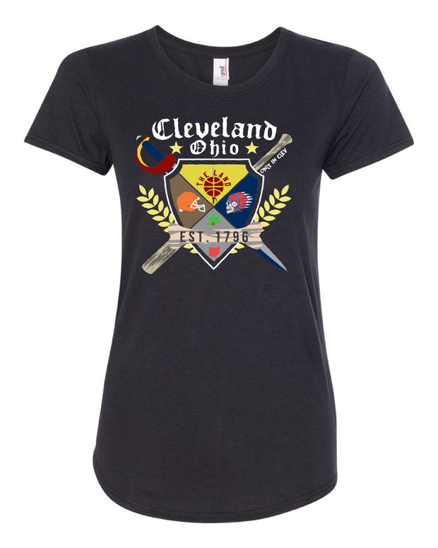 """Cleveland Sports Coat of Arms"" Design on Black - Only in Clev"
