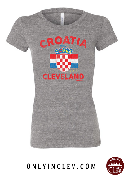 Croatia-Cleveland Nationality Tee Womens T-Shirt - Only in Clev