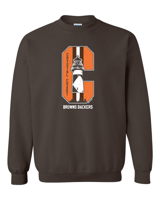 """Crystal Coast Browns Backers"" Design on Brown"