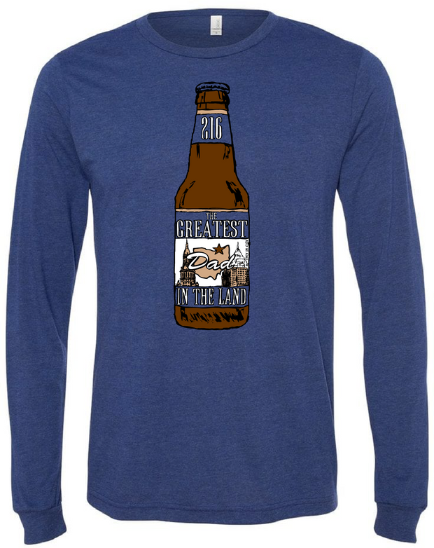 """Greatest Dad in the Land Beer Bottle"" on Navy - Only in Clev"