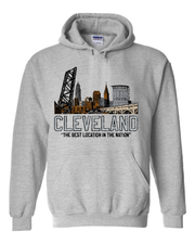 """Best Location in the Nation"" Colorful Skyline"" on Gray - Only in Clev"