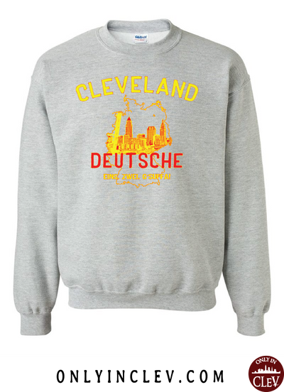 Cleveland Skyline Deutsche Crewneck Sweatshirt - Only in Clev