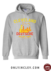 """Cleveland Skyline Deutsche"" on Gray - Only in Clev"