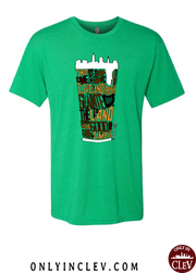 """Cleveland Irish Suds"" design on Green"