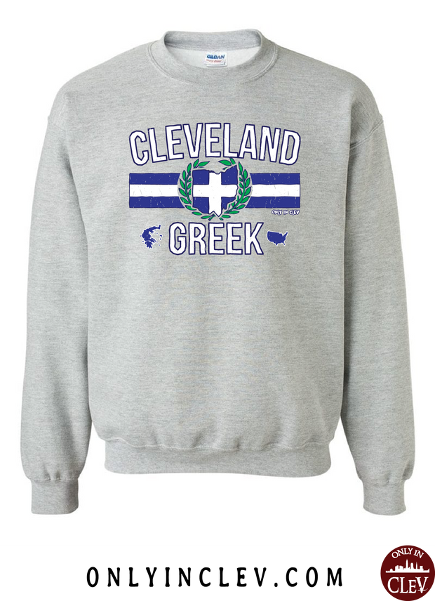 Cleveland-Greek Nationality Tee Crewneck Sweatshirt - Only in Clev