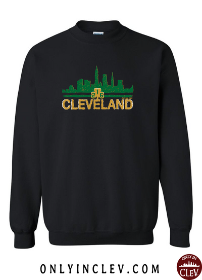 Cleveland Irish Skyline on Black Crewneck Sweatshirt - Only in Clev