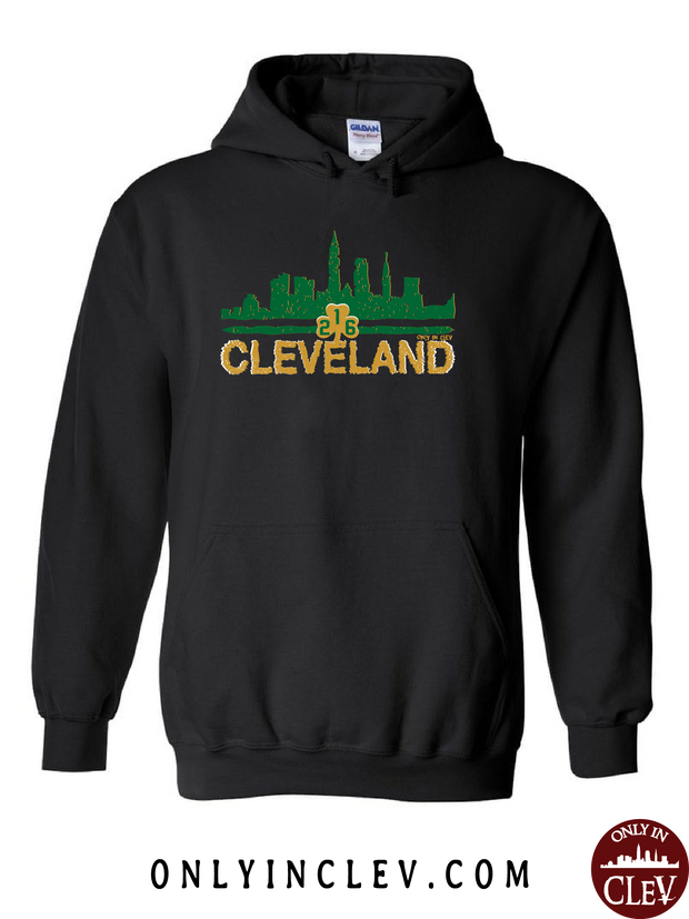 Cleveland Irish Skyline on Black Hoodie - Only in Clev