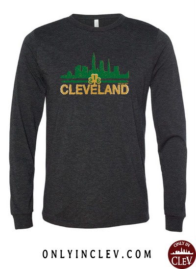 Cleveland Irish Skyline on Black Long Sleeve T-Shirt - Only in Clev