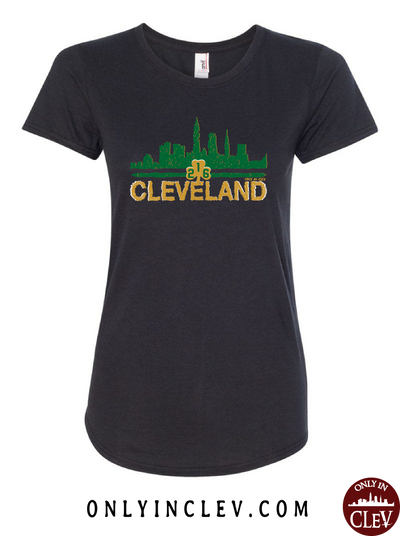 Cleveland Irish Skyline on Black Womens T-Shirt - Only in Clev
