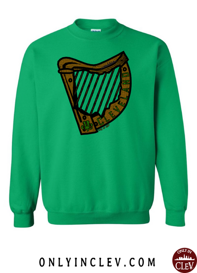 Irish Harp on Green Crewneck Sweatshirt - Only in Clev