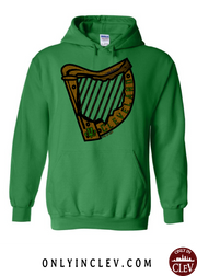"""Cleveland Irish Harp"" Design on Green"