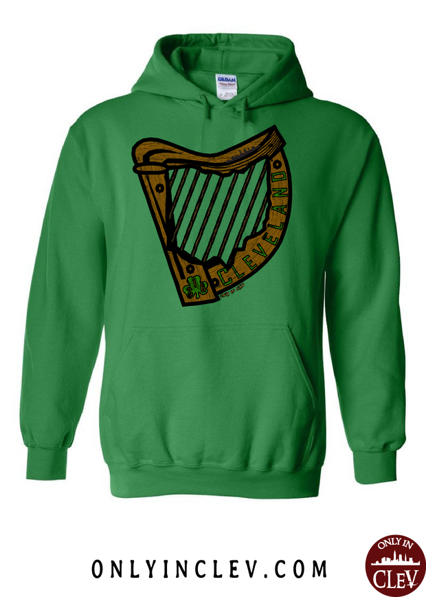 Irish Harp on Green Hoodie - Only in Clev