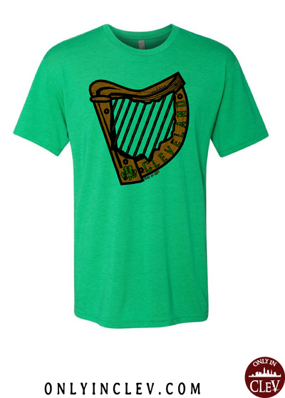 Irish Harp on Green T-Shirt - Only in Clev
