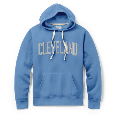 """Hooded Sweatshirt with Embroidered Cleveland"" on Power Blue"