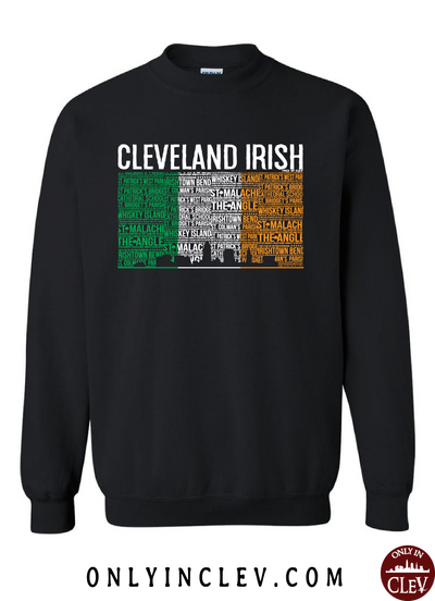 Cleveland Irish Flag with the Skyline Crewneck Sweatshirt - Only in Clev
