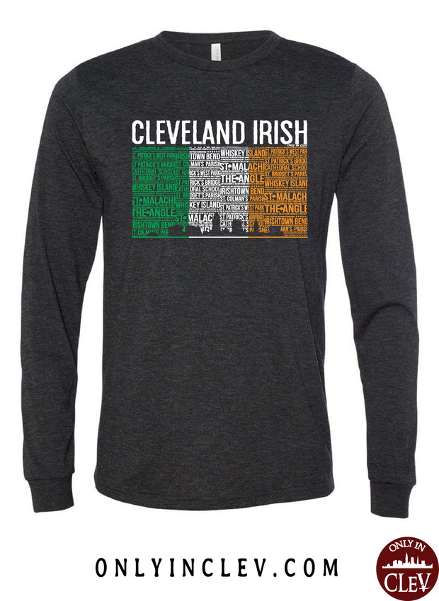 Cleveland Irish Flag with the Skyline Long Sleeve T-Shirt - Only in Clev