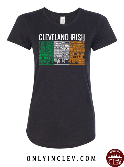 Cleveland Irish Flag with the Skyline Womens T-Shirt - Only in Clev