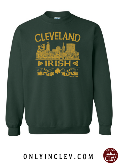Cleveland Irish on Emerald Green Crewneck Sweatshirt - Only in Clev