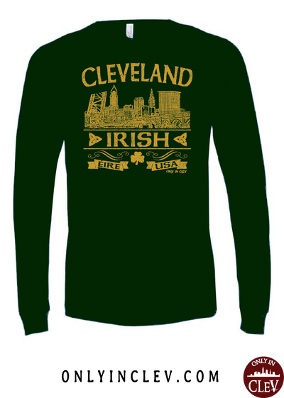 Cleveland Irish on Emerald Green Long Sleeve T-Shirt - Only in Clev