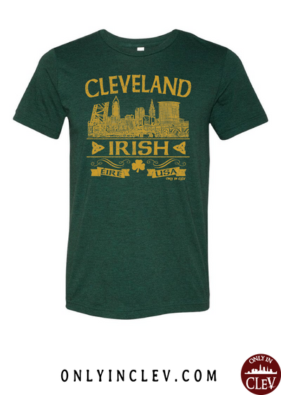 Cleveland Irish on Emerald Green Womens T-Shirt - Only in Clev