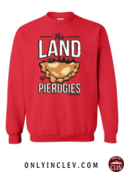 """Land of Pierogies"" Design on Red - Only in Clev"