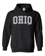 """Arched Metallic Silver Ohio"" Design on Black"