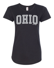 """Arched Metallic Silver Ohio"" Design on Black - Only in Clev"