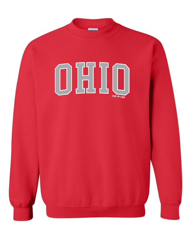 """Arched Metallic Silver Ohio"" Design on Red"