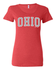 """Arched Metallic Silver Ohio"" Design on Red - Only in Clev"