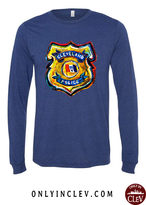 Cleveland Police Badge on Navy Long Sleeve T-Shirt - Only in Clev