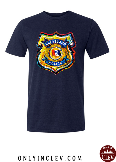 Cleveland Police Badge on Navy T-Shirt - Only in Clev