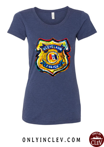 Cleveland Police Badge on Navy Womens T-Shirt - Only in Clev