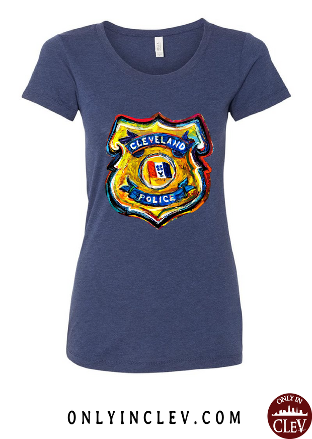 Cleveland Police Badge on Navy Womens T-Shirt