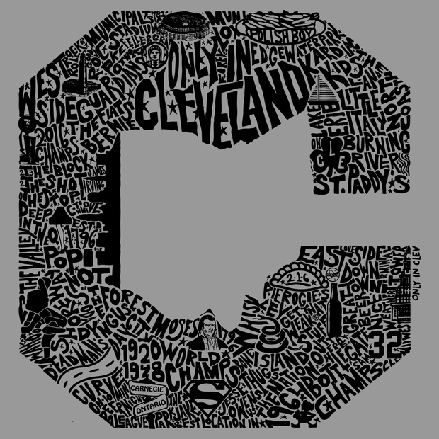 """Block C"" Only in Cleveland Design"" on Gray - Only in Clev"