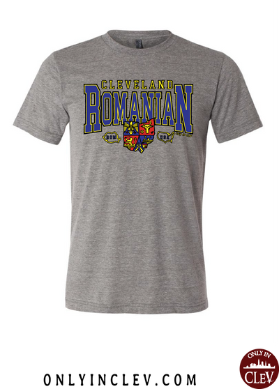 """Cleveland Romanian"" Design on Gray - Only in Clev"