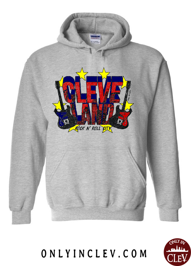 Cleveland Rock and Roll City on Grey Hoodie - Only in Clev