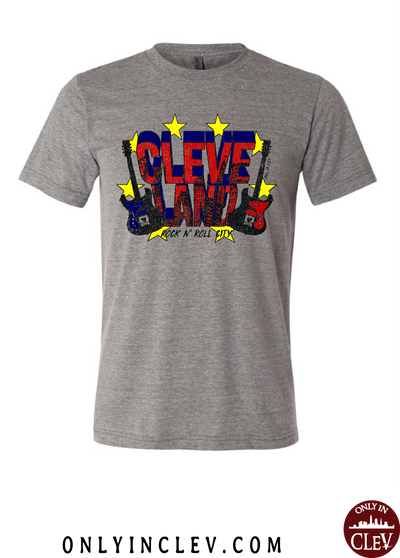 Cleveland Rock and Roll City on Grey T-Shirt - Only in Clev