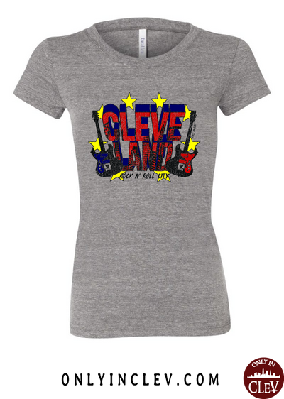 Cleveland Rock and Roll City on Grey Womens T-Shirt