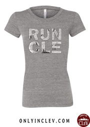 """RUN CLE"" Women's on Gray - Only in Clev"