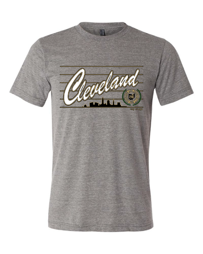 """Cleveland Script Metallic Gold"" Design on Gray"