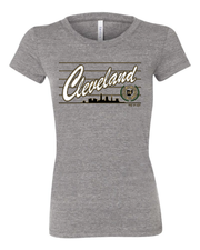 """Cleveland Script Metallic Gold"" Design on Gray - Only in Clev"