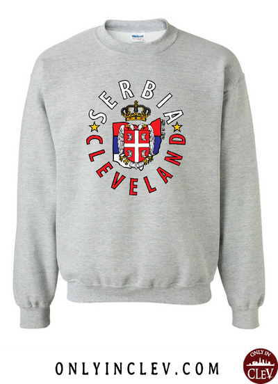 Cleveland Serbia-Nationality Tee Crewneck Sweatshirt - Only in Clev