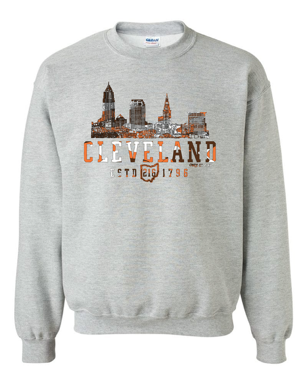 """Cleveland Brown & Orange Camo Skyline"" on Gray - Only in Clev"