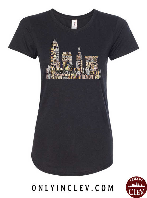 Cleveland Skyline Neighborhood  Womens T-Shirt - Only in Clev