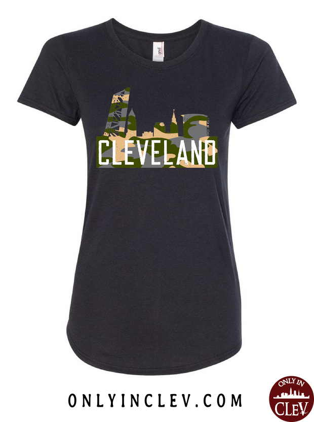 Cleveland Skyline Flats Camo Womens T-Shirt - Only in Clev
