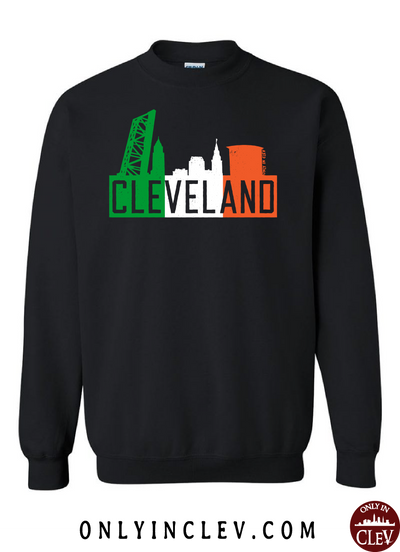 Irish Flats Skyline on Black Crewneck Sweatshirt - Only in Clev