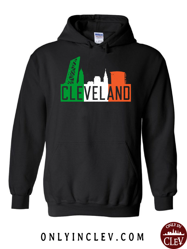 Irish Flats Skyline on Black Hoodie - Only in Clev