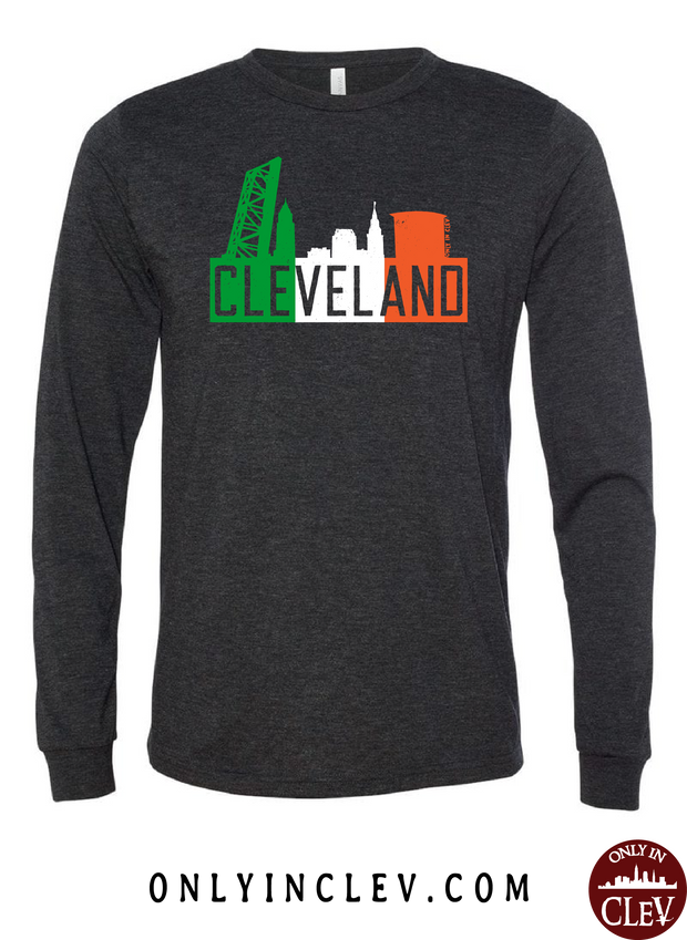 Irish Flats Skyline on Black Long Sleeve T-Shirt - Only in Clev